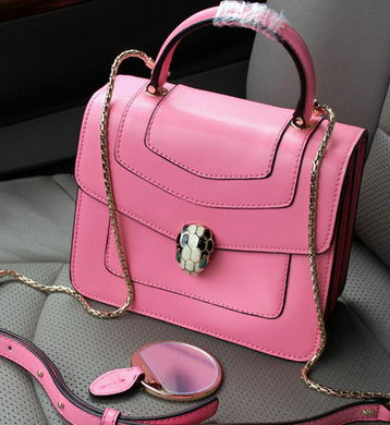 2015 BVLGARI Serpenti Forever Bag Original Leather BG9258 Pink