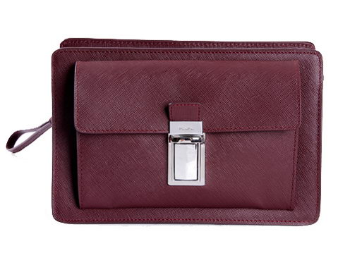 PRADA Saffiano Leather Document Holder VR0091 Burgundy