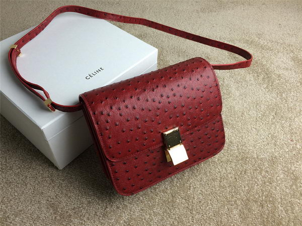 Celine Classic Box Small Flap Bag Ostrich Leather C11042 Red