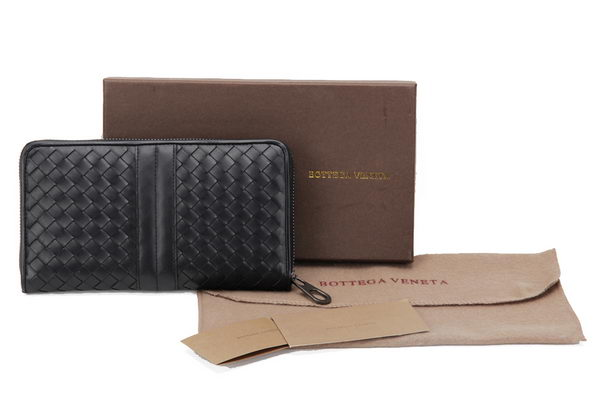 Bottega Veneta Edoardo Ebano Zip Around Wallet BV2017 Black