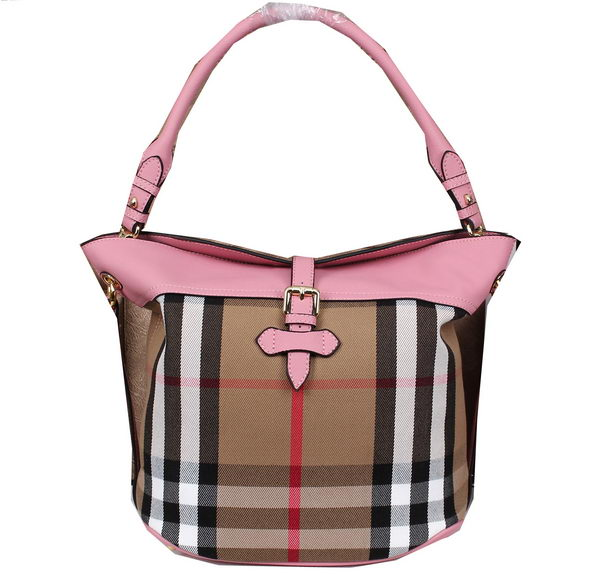 BurBerry Bridle House Check Tote Bag 39589441 Pink
