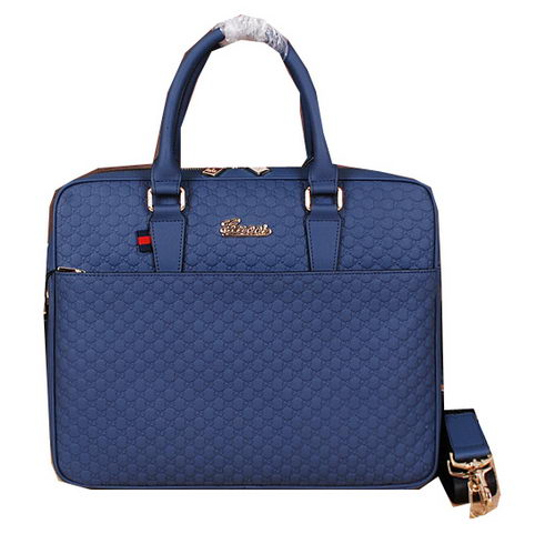 Gucci Guccissima Leather Business Briefcase G66181 Blue