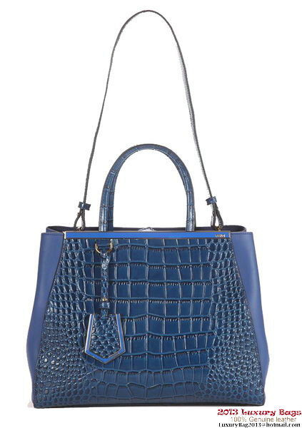 Fendi Fall Winter 2012 2Jours Original Croco Leather Tote Bag F001 Blue