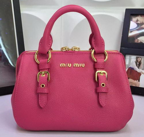 miu miu Madras Goat Leather Top-handle Bag RL1058 Rose