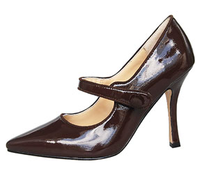 Manolo Blahnik Patent Leather Mary Jane-Dark Brown