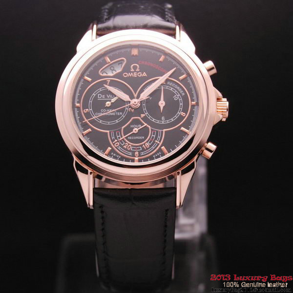 OMEGA DE VILLE CO-AXIAL CHRONOSCOPE Red Gold on Black Leather Strap OM77427