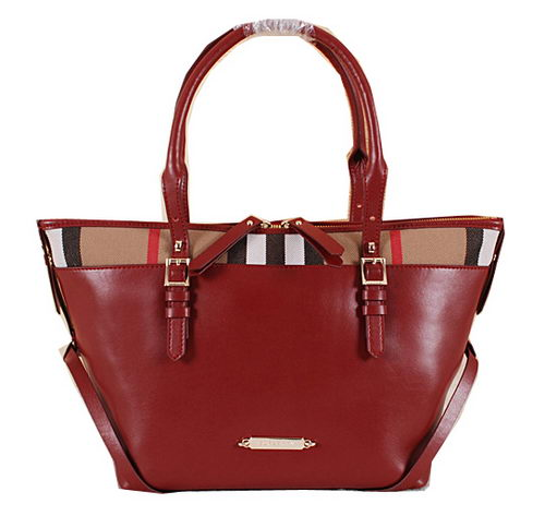 Burberry Brit Check Tote Bag BU5033 Burgundy
