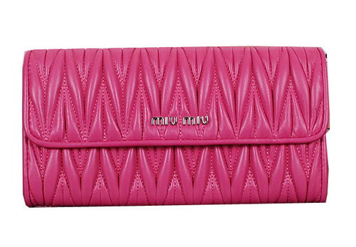 miu miu Matelasse Original Sheepskin Leather Wallet 5M1035 Rose