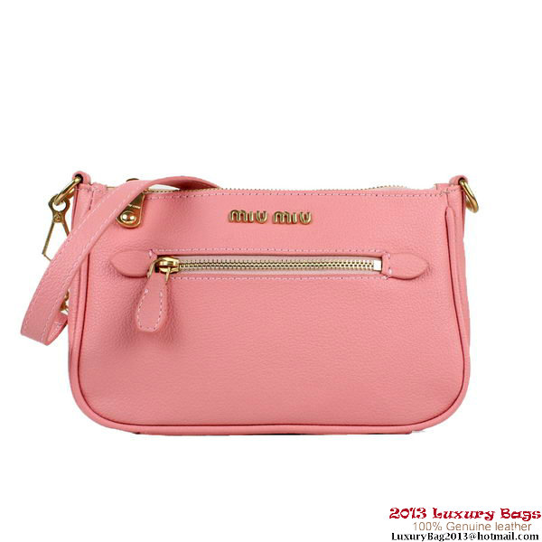 miu miu Calfskin Shoulder Bag M88036 Pink