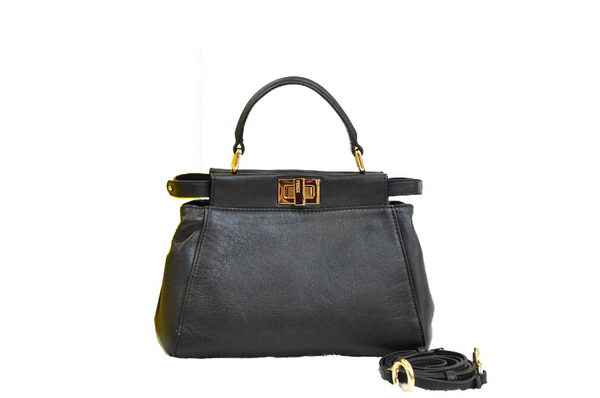 Fendi Icoic mini Peekaboo Bag Original Leather F9680 Black