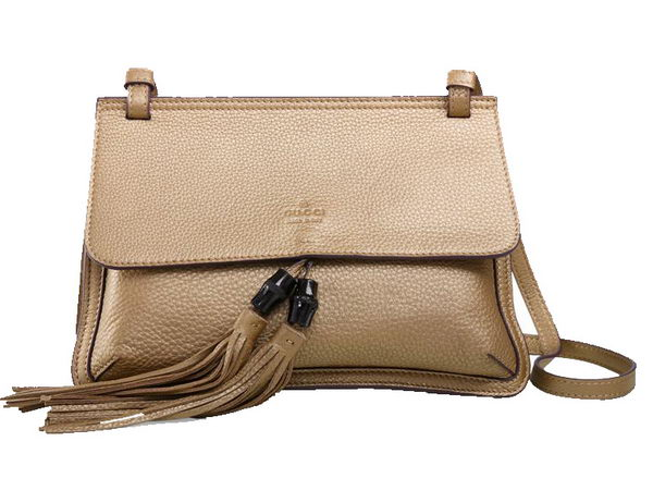 Gucci Bamboo Daily Leather Flap Shoulder Bag 370826 Gold