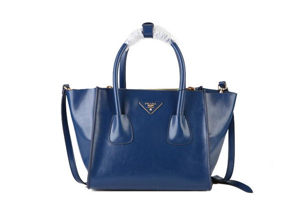 Prada Shiny Calf Leather Tote Bag BN2625 RoyalBlue