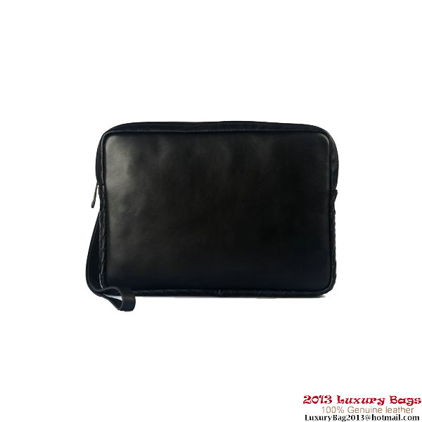 Bottega Veneta Nero Spalmato Linen Toiletry Case 17005 Black
