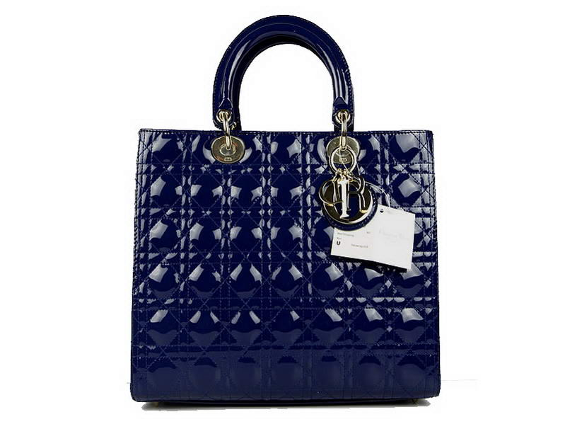 Christian Dior Patent Bags Large Lady Dior Bag CAL44561 Blue Golden