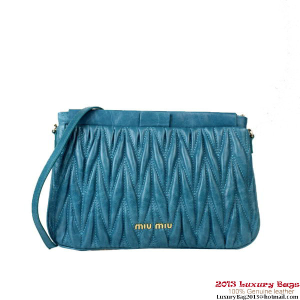 miu miu Matelasse Bright Leather Clutches 88080 Blue