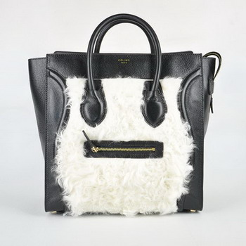 Celine Rabbit hair Leather Handbag 98170 Black