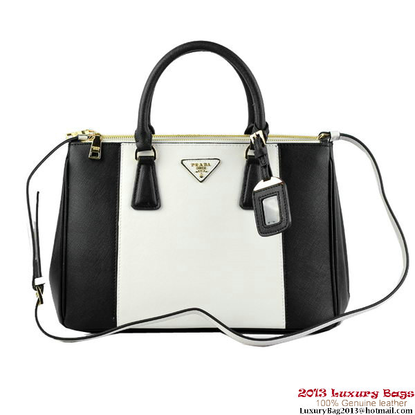 2013 Prada Saffiano Leather Tote Bag B2274 Black&White