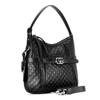 Gucci Running Medium Hobo with Leather Belt Black 247185