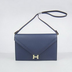 Hermes Deep-Blue Shoulder Bags with Gold Hardware H021
