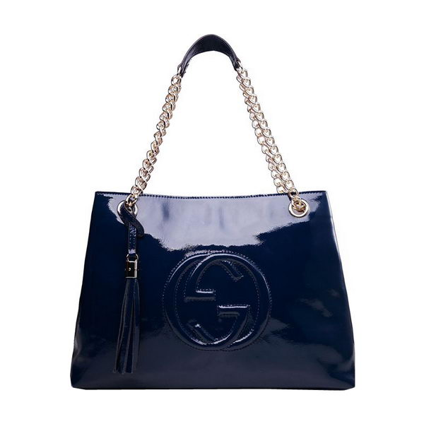 Gucci Soho Medium Tote Bag in Patent Leather 308982 Dark Blue