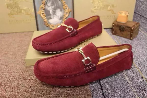 BurBerry Casual Shoes Suede Leather BUR101HT Burgundy