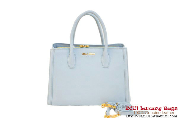 miu miu Two-Tone Tote Bag Original Leather BN0883 Light Blue