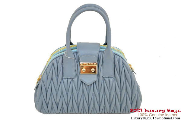 miu miu RL0073 Matelasse Shiny Leather Top Handle Bag Light Blue