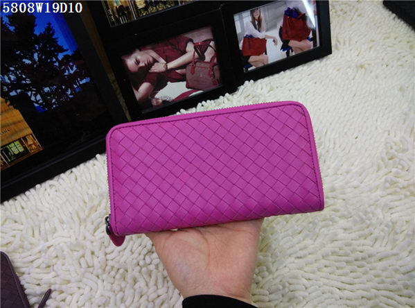 Bottega Veneta Intrecciato Nappa Zip Around Wallet BV5808 Rose