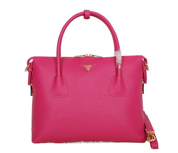 Prada Grainy Calf Leather Two-Handle Bag BN0890 Rose