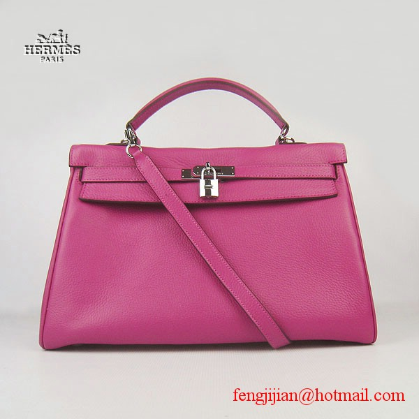 Hermes Kelly 35cm Togo Leather Bag Peachblow 6308 Silver Hardware