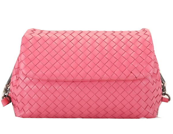 Bottega Veneta Intrecciato VN Flap Shoulder Bag BV3589 Pink