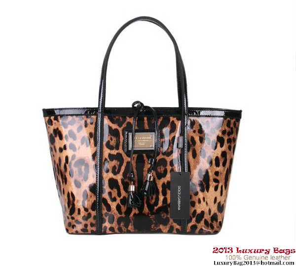 Dolce & Gabbana ESCAPE BB4540 Leopard Patent Shopping Bag Brown