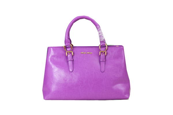 miu miu Calf Leather Top-handle Bag M6870 Purple
