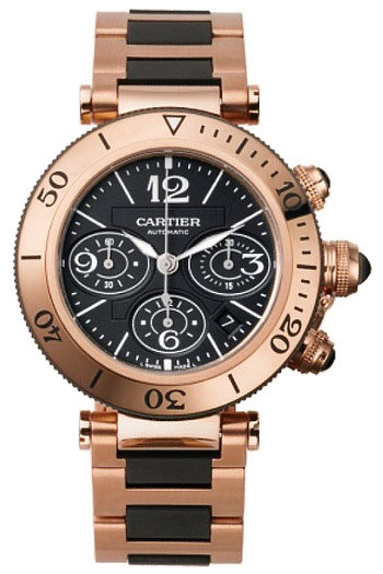 Cartier Pasha Seatimer Series Wonderful 18k Rose Gold Mens Automatic Wristwatch-W301980M