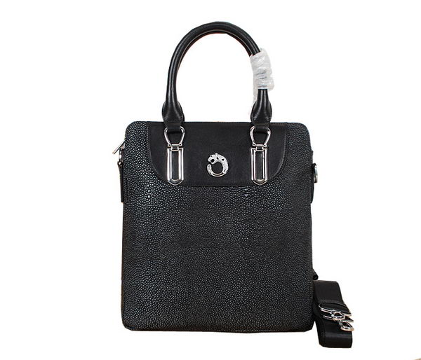 Cartier Pearl Leather Tote Bag 11901-2 Black