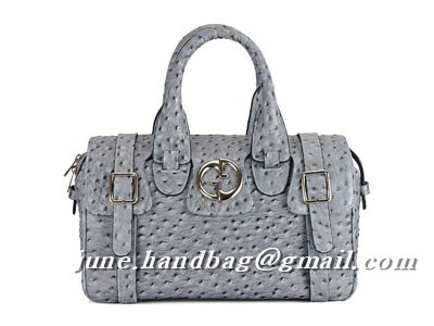 Gucci Ostrich Veins Luggage Bag 241118 Grey