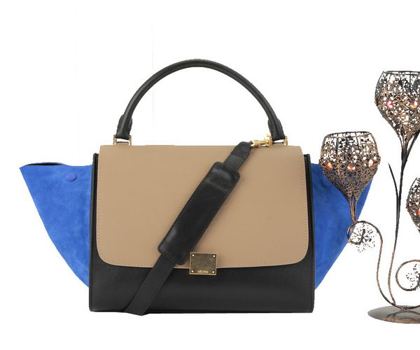 Celine Trapeze Bag Original Calfskin Leather C006 Khaki&Black&Blue