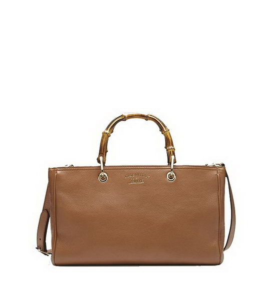 Gucci 323660 Brown Bamboo Shopper Calf Leather Tote Bag