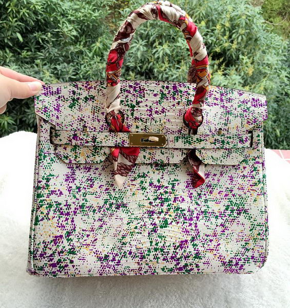 Hermes Birkin 30CM Tote Bags Lizard Leather H30LZ Floral