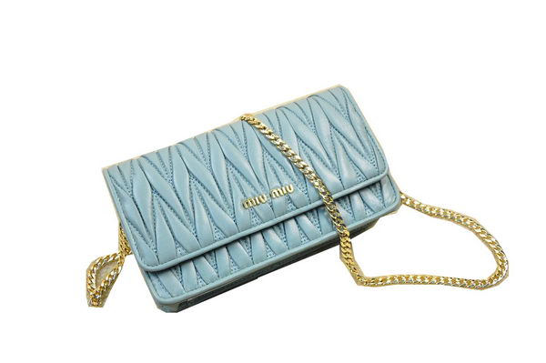 miu miu Matelasse Leather Flap Shoulder Bag BL0847 Light Blue
