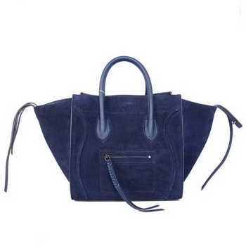 Celine Luggage Phantom Bags Suede Leather C9901 Dark Blue