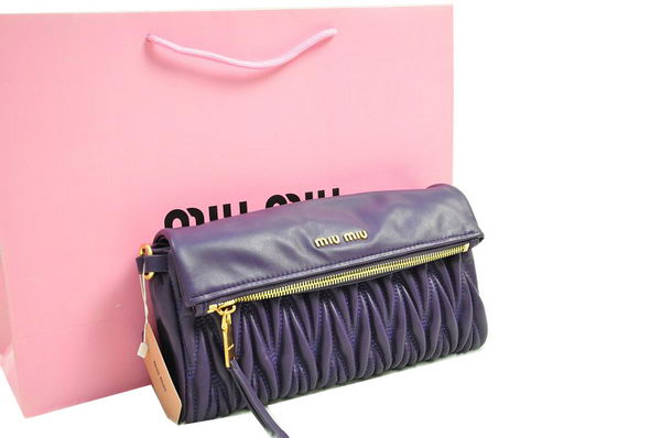 miu miu Pressed Small Matelasse Nappa Lamb leather Clutch RP0345 Dark Purple