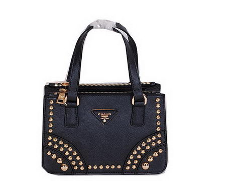 Prada Saffiano Leather Tote with Metal Studs B1142B Black