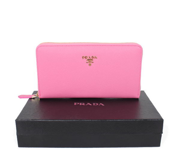 Prada 1M1188 Pink Saffiano Leather Wallet