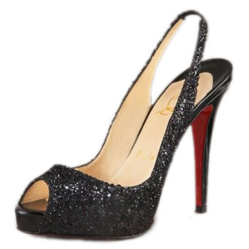 Christian Louboutin N Prive Fabric Slingbacks Black