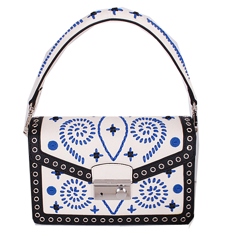 Prada Saffiano Caflskin Leather Flap Bag BN924E White&Blue