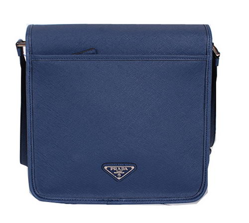 PRADA Original Saffiano Leather Messenger Bag VA3083 Royal