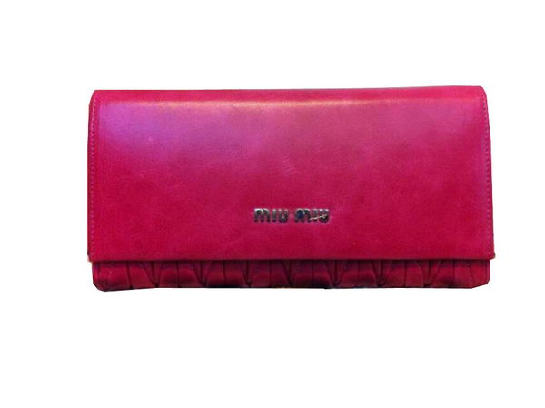 miu miu Matelasse Shiny Sheepskin Leather Bi-Fold wallets 1371 Rose