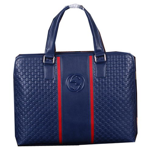 Gucci Guccissima Leather Business Briefcase G261 Blue