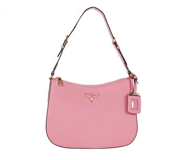 Prada Saffiano Leather Shoulder Hobo Bag BR5007 Pink